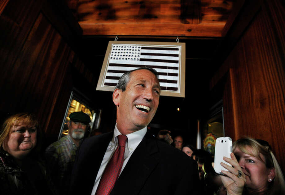 Former South Carolina Gov. Mark Sanford arrives to give his victory speech on Tuesday, May 7, 2013, in Mt. Pleasant, S.C. Sanford won back his old congressional seat in the state's 1st District in a special election. (AP Photo/Rainier Ehrhardt) / FR155191 AP