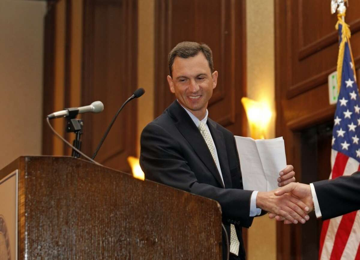 Garry Feldman of U S Computer Connection LLC is introduced during The Stamford Chamber of Commerce's 25th annual luncheon Thursday afternoon at the Stamford Hilton. Hour Photo / Danielle Robinson
