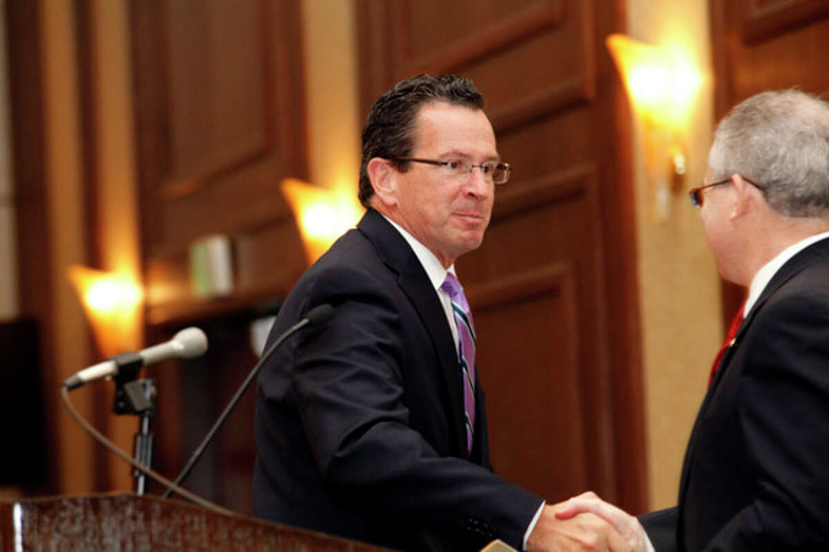 Gov. Dannel Malloy is introduced as the keynote speaker at The Stamford Chamber of Commerce's 25th annual luncheon Thursday afternoon at the Stamford Hilton. Hour Photo / Danielle Robinson