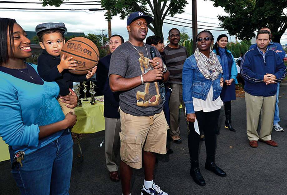 The first annual South Norwalk Community Day hosted by the A Better South Norwalk Team, with introductions from Travis Simms Saturday. Hour photo / Erik Trautmann / (C)2012, The Hour Newspapers, all rights reserved