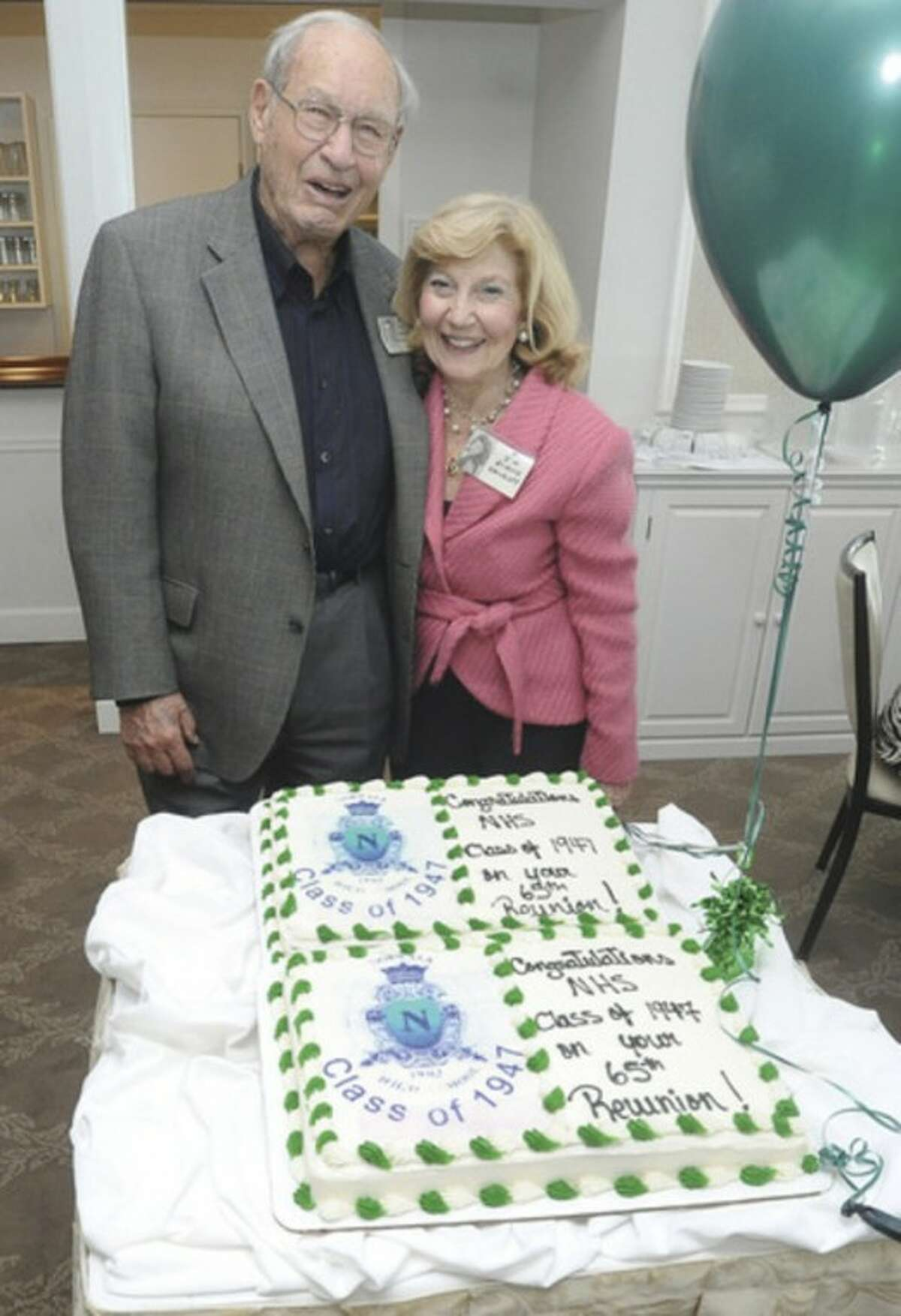Dr. Charles Stabinsky, M.D. and Elaine Walkoff, co-chairs of the NHS class of 1947 reunion at Shore and Country Club. hour photo/Matthew Vinci