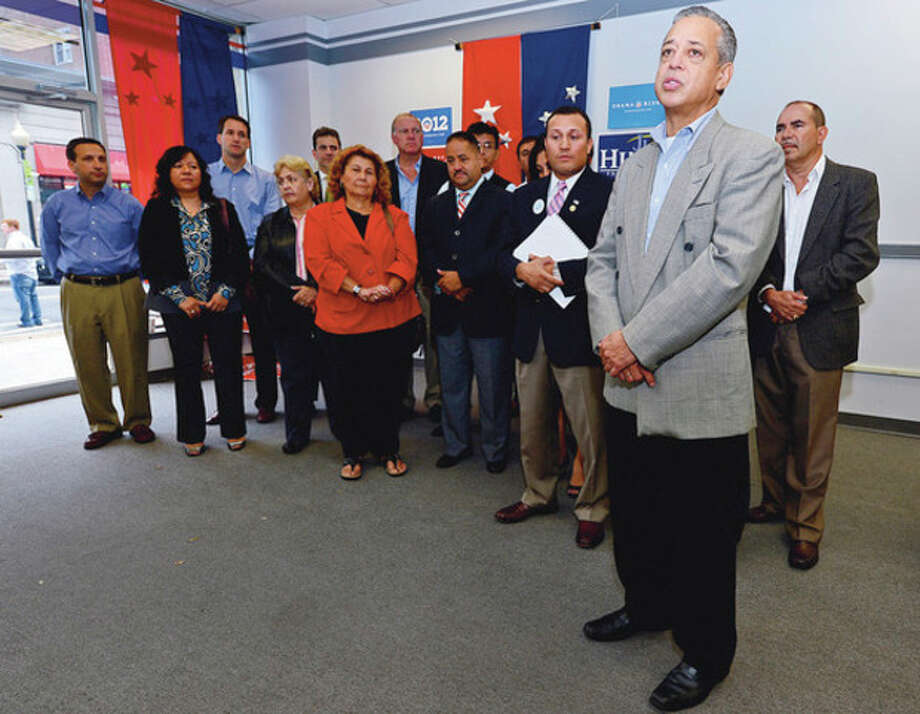 Hispanic Democrats, from Bridgeport to Stamford, and Hartford mayor Pedro Segarra rally at democratic headquarters at 20 North Main St. in support of Democratic candidates like Congressman Jim Himes and Chris Murphy.Hour photo / Erik Trautmann / (C)2012, The Hour Newspapers, all rights reserved