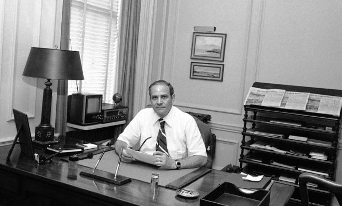 FILE - This July 20, 1977 file photo shows New York Times publisher Arthur Ochs Sulzberger in his office in New York. Sulzberger has died at age 86. The newspaper reports that his family says Sulzberger died Saturday, Sept. 29, 2012, at his home in Southampton, N.Y., after a long illness. He had retired in 1992 after three decades at the paper's helm and was succeeded by his son, Arthur Jr. (AP Photo/Ray Howard, File)