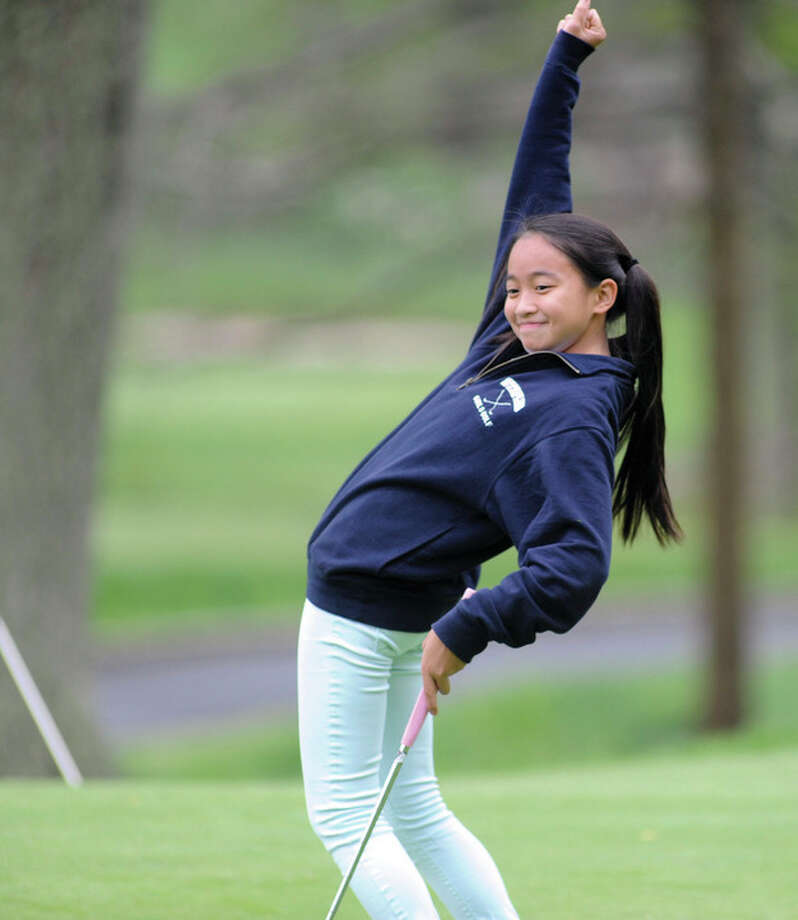 Hour photo/John NashStaples High freshman Anelise Browne has burst onto the girls varsity golf scene this spring as one of the Wreckers' top players.