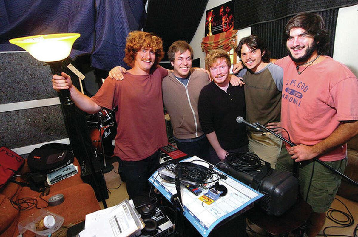 The members of Vasudo, from left, Matt Campbell, Trevor Weeks, Will Thresher, Rick Mitarotonda and Chris Reid, in their Wilton studio. Photo by Alex von Kleydorff