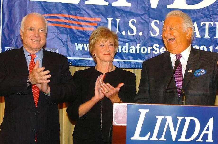 Hour Photo/ Alex von Kleydorff. John McCain, Linda McMahon and Mayor Richard Moccia at The Norwalk Inn and Conference Center
