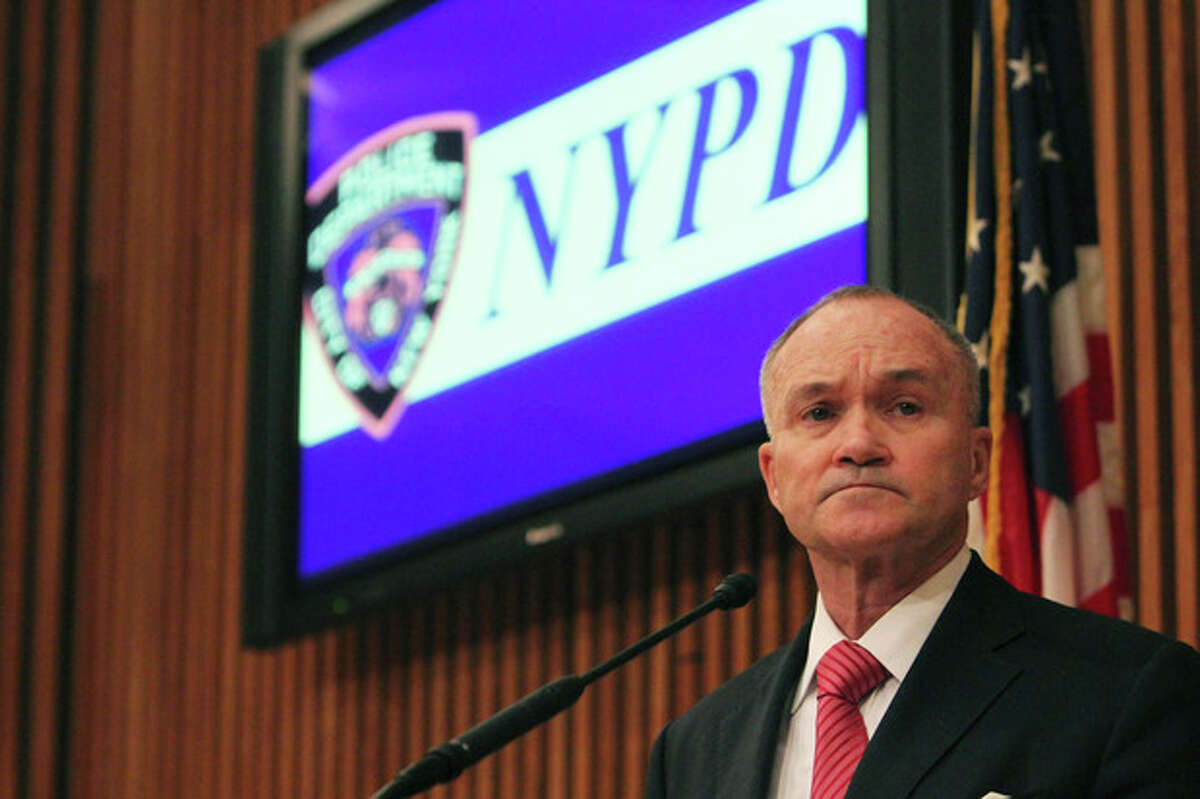 FILE - In this Jan. 27, 2012 file photo, New York City Police Commissioner Raymond Kelly speaks to reporters during a news conference in New York. Kelly says the NYPD will be doubling the size of its gang unit to combat a surge in social media-fueled violence. The reinforcements will focus largely on loosely affiliated groups of teens who trade dares and insults on Facebook. (AP Photo/Mary Altaffer, File)