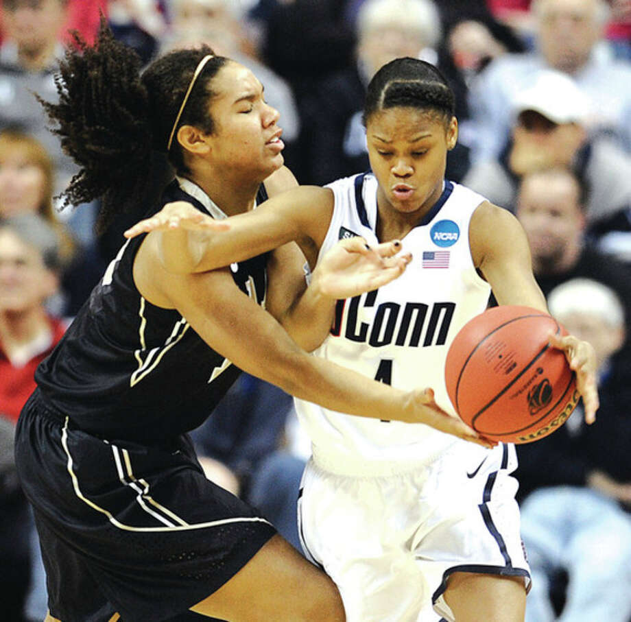 AP photoConnecticut's Moriah Jefferson, right, steals the ball from Idaho's Ali Forde during the first round of the NCAA tournament. A freshman, the speedy Jefferson is emerging as a force in the backcourt for the Huskies. / FR125654 AP