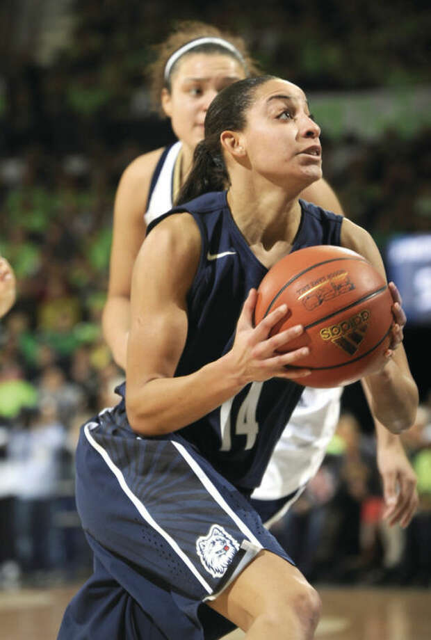 Connecticut guard Bria Hartley drives to the basket in a college basketball game Monday March 4, 2013 in South Bend, Ind. (AP Photo/Joe Raymond)