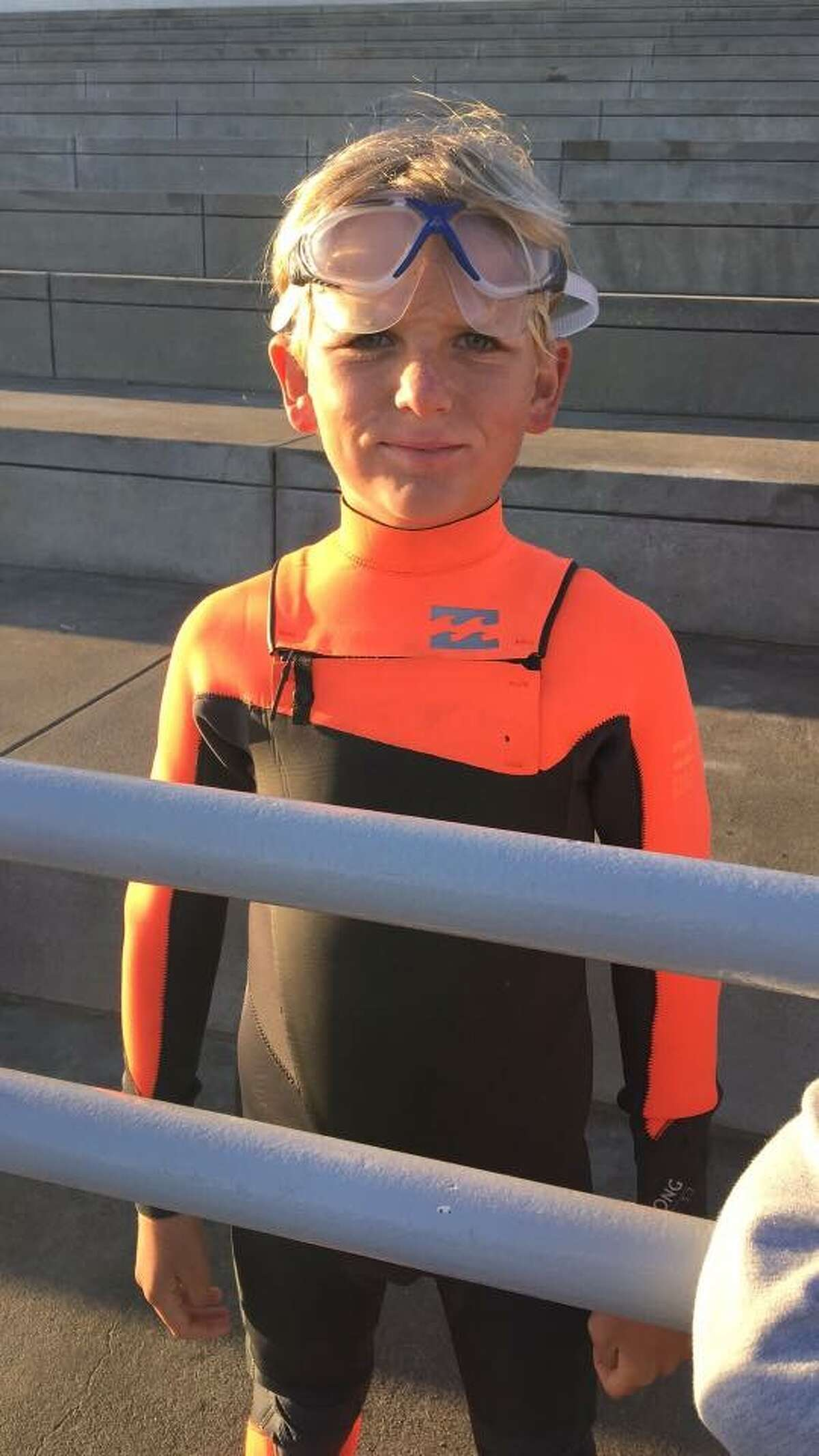 James Savage, 9, of Los Banos, Calif., became the youngest person to ever swim from the San Francisco shore to Alcatraz and back on June 14, 2016.