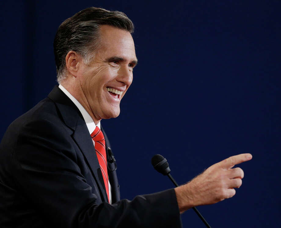 Republican presidential nominee Mitt Romney speaks during the first presidential debate with President Barack Obama at the University of Denver, Wednesday, Oct. 3, 2012, in Denver. (AP Photo/David Goldman) / AP