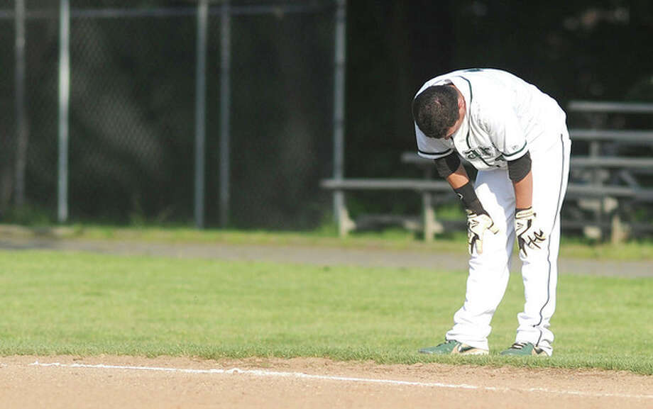 Hour photo/John NashNorwalk's Ricky Liscio reacts after getting called out on a bang-bang play at first base with the bases load in the bottom of the seventh inning to end the Bears' final game of the 2013 season. Stamford jumped on top early and held on for a 7-2 win.