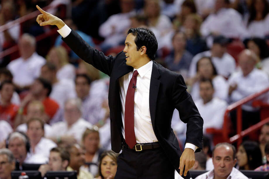 Miami Heat coach Erik Spoelstra gestures during the second half of Game 5 of an NBA basketball Eastern Conference semifinal against the Chicago Bulls, Wednesday, May 15, 2013, in Miami. (AP Photo/Wilfredo Lee) / AP