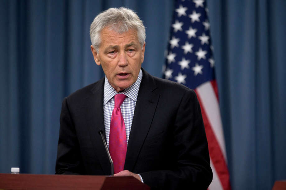"FILE - In this April 29, 2013 file photo, Defense Secretary Chuck Hagel speaks during a joint news conference at the Pentagon. A soldier assigned to coordinate a sexual assault prevention program in Texas is under investigation for ""abusive sexual contact"" and other alleged misconduct and has been suspended from his duties, the Army announced Tuesday. Pentagon press secretary George Little said after Tuesday's announcement that Hagel is angry and disappointed at ""these troubling allegations and the breakdown in discipline and standards they imply."" (AP Photo/Evan Vucci, File) / AP"
