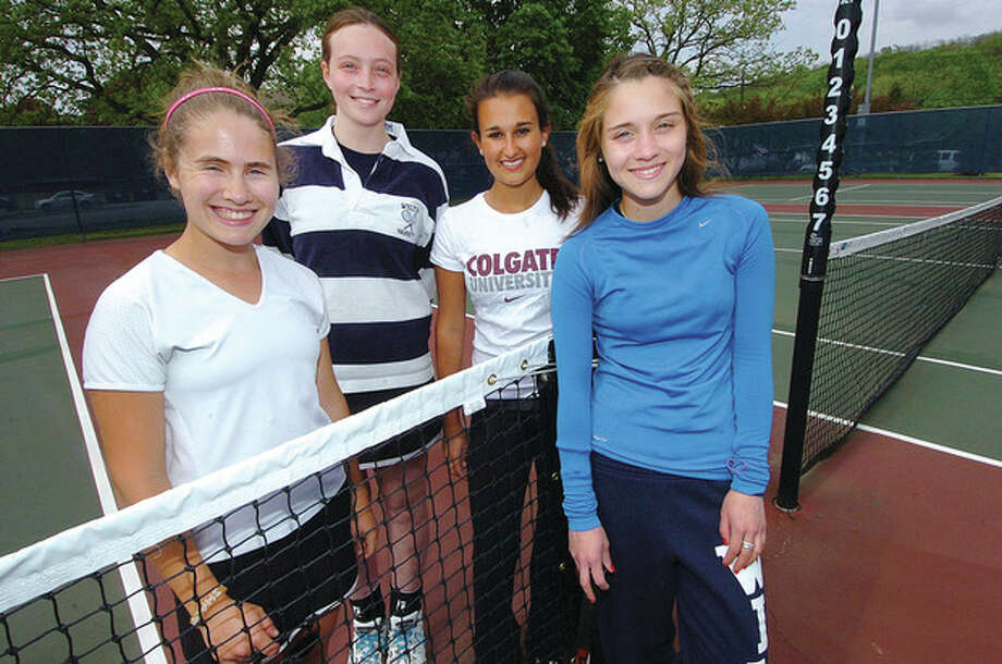 Hour photo/Alex von KleydorffA veteran Wilton girls tennis squad is enjoying a solid season in FCIAC play. Key roles are played by, from left, captain Allie Schaefer, Hanna Montgomery, captain Maya Srivastava and Javiera Fiol, as well as Sammy Augenbraun. / 2013 The Hour Newspapers