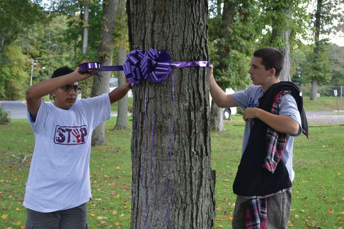 Weston Teen PeaceWorks members Faizaan Siddiqui and Michael Riley wrap purple ribbons around a tree to symbolize one of the ten domestic dispute related incidents reported to Weston Police this past year. Contributed photo