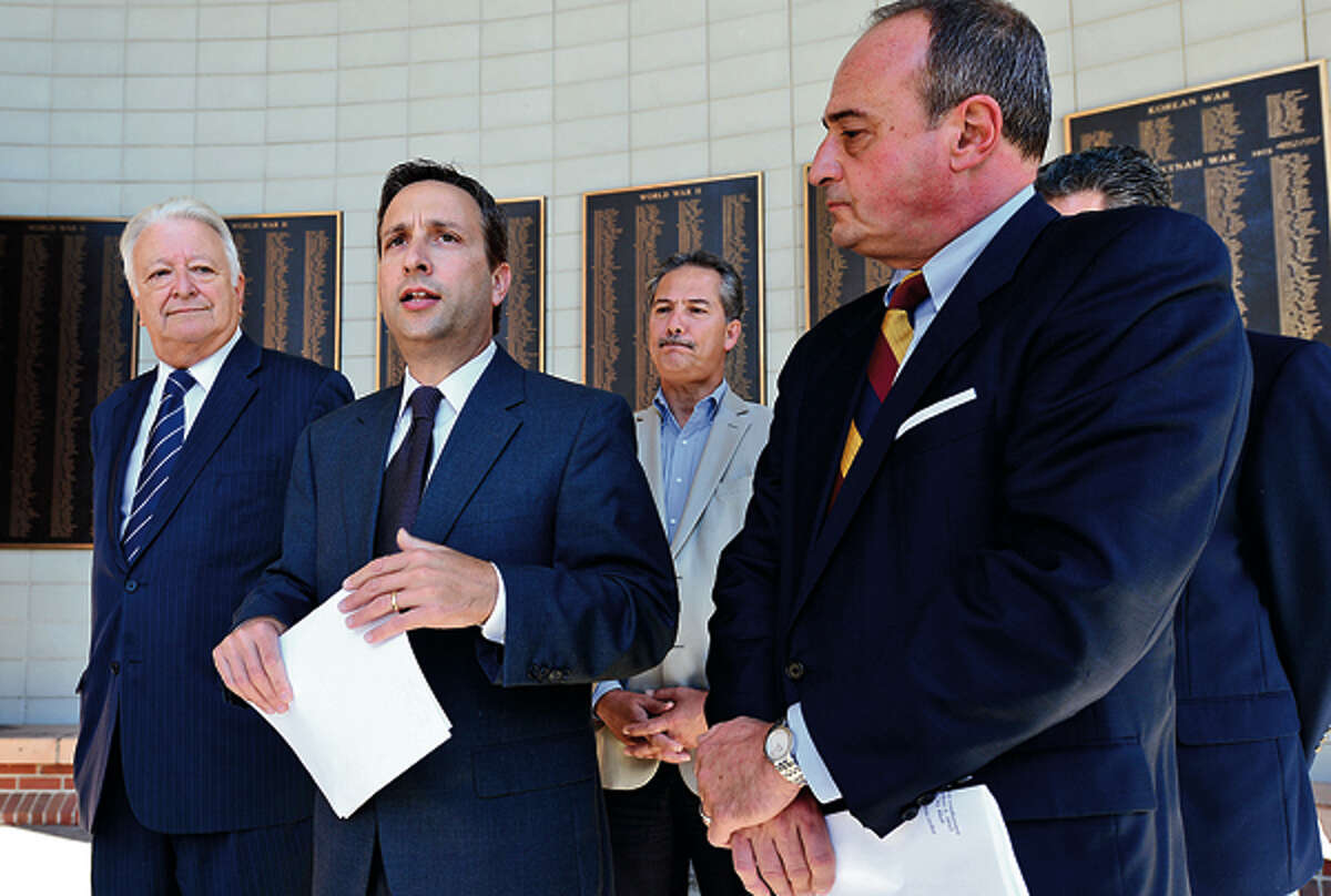 State Senator Bob Duff (D-25) and House Minority Leader, Larry Cafero (R-124) hold a press conference to highlight the Step-Up Employment Program a year after it was established. Step Up offers the Wage Subsidy Program and the Small Manufacturer Training Grant Program which gives employers incentives to hire new employees and create jobs.Hour photo / Erik Trautmann