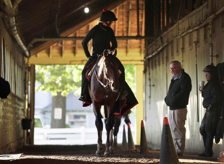 Kentucky Derby winner Orb, with exercise rider Jennifer Patterson aboard, walks in his barn past trainer Shug McGaughey at Belmont Park after a workout, Monday, May 13, 2013 in Elmont, N.Y. Orb is scheduled to travel to Pimlico later in the day to prepare for the Preakness, Saturday, May 18. (AP Photo/Mark Lennihan) / AP