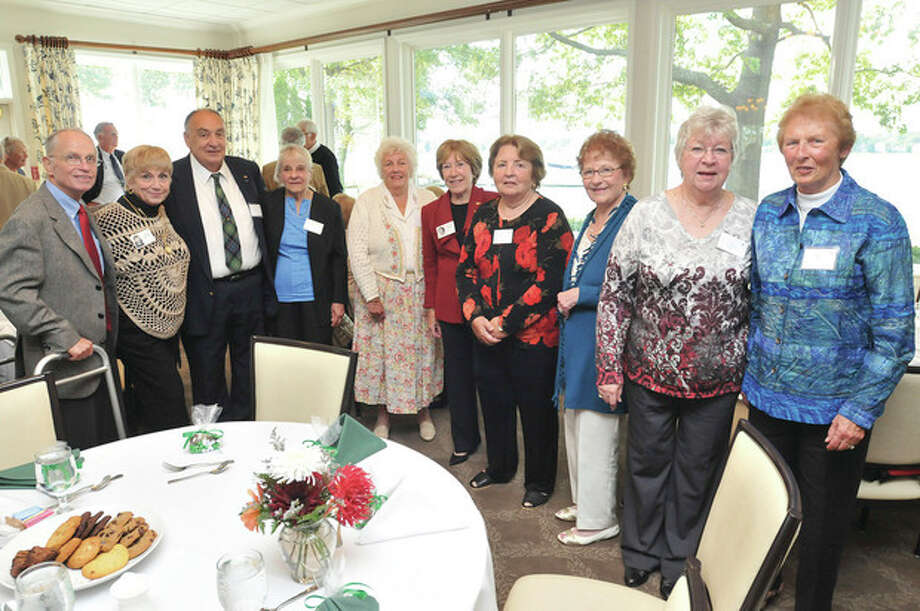 Class of 1952 members Sunday at the Shore and Country Club, from left, Wayne Johnson, Jeanne Savastano, Herb Watson, Marie Johnson, Patty Taylor, Thurley Burns, Ginny Johnson, Elaine Yanell, Judy Alvin and Jean Tracey. hour photo/Matthew Vinci