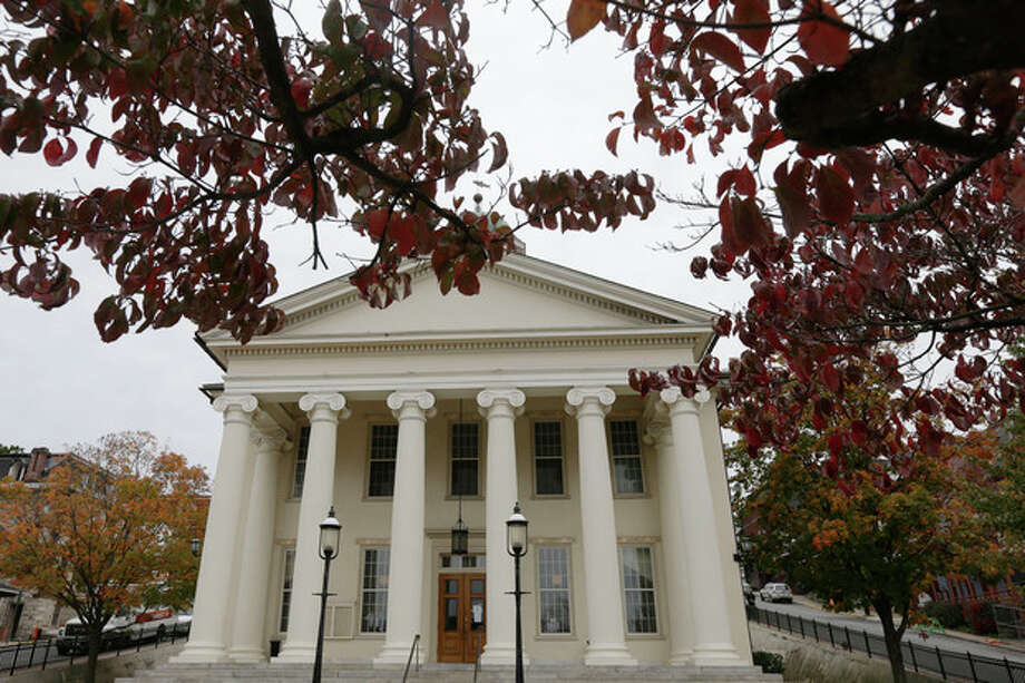 The Centre County Courthouse is seen on Monday, Oct. 8, 2012, in Bellefonte, Pa. Former Penn State University assistant football coach Jerry Sandusky is scheduled to be sentenced Tuesday for sexually abusing 10 boys in a scandal that rocked the university and brought down coach Joe Paterno. (AP Photo/Matt Rourke) / AP