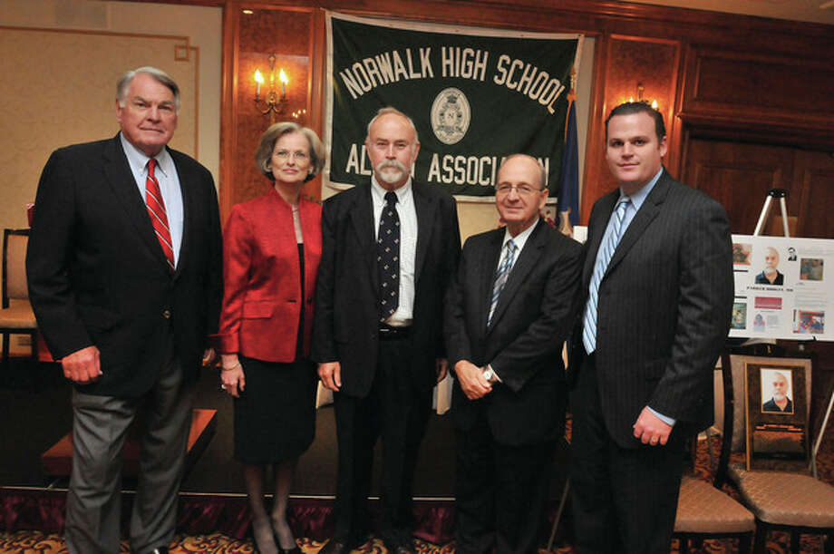 Hour photo/Matthew VinciThe 2012 Norwalk High School Alumni Association Wall of Honor recipients, from left, Roger Shoals, Justice Carol Conboy, Dr. Parker Dooley, M.D. Ralph Bloom and alumni president Matt Scully.