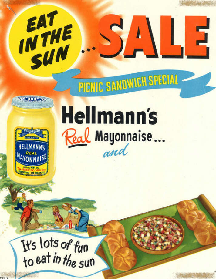 This undated image provided by Hellman's shows an undated advertisement for Hellmann's mayonnaise. Hellman's turns 100 in 2013 and to celebrate the anniversary, owner Unilever Food is launching a marketing campaign including a Facebook page and YouTube videos featuring chef Mario Batali cooking up his favorite Hellman's recipes, a smartphone app and a June event featuring the world's largest picnic table. (AP Photo/Hellman's)