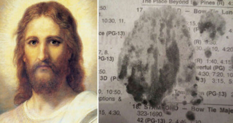 Contributed photosAn artist's rendering of Jesus is compared with an ink blot in The Hour that some say resembles Jesus.