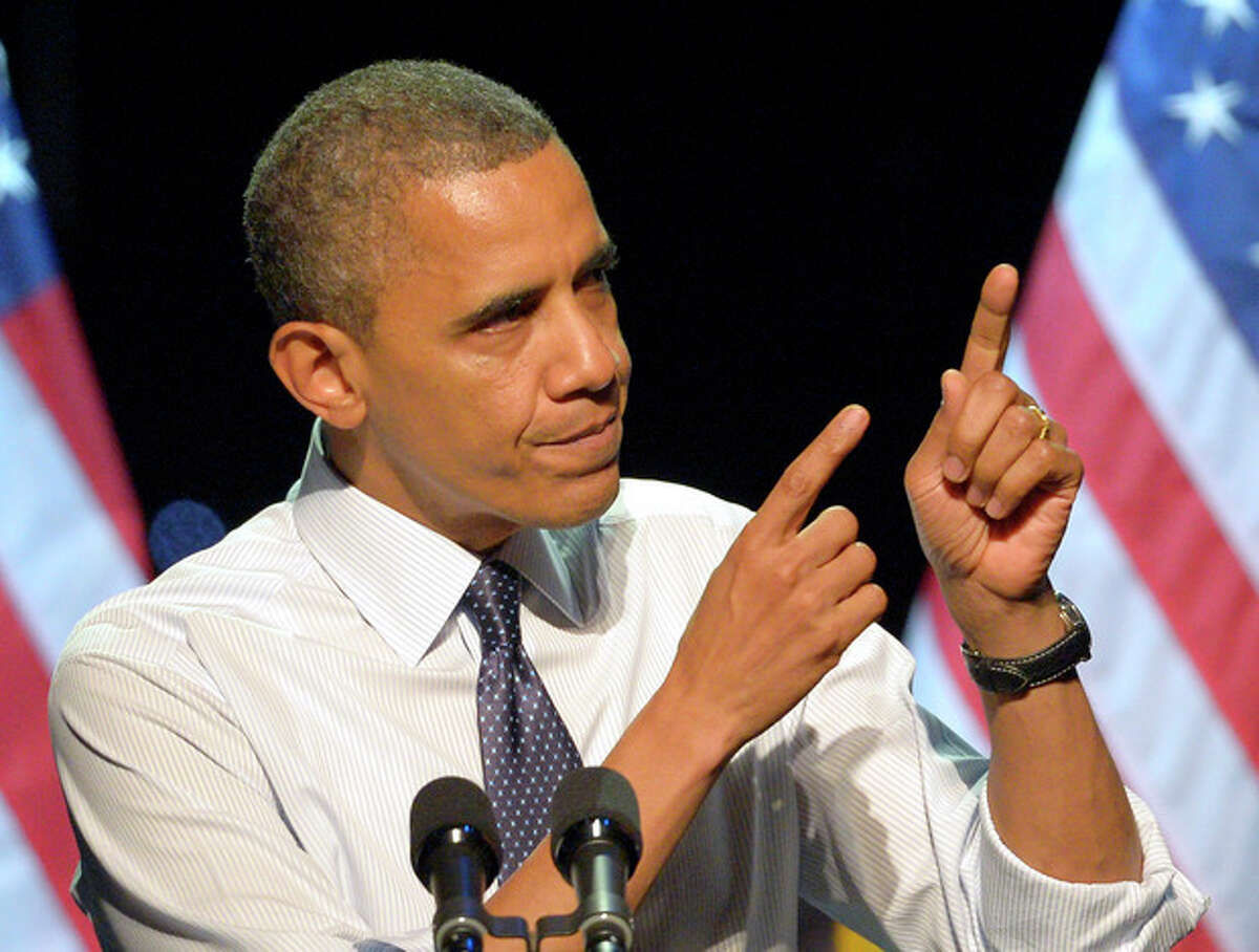 President Barack Obama speaks at a campaign event at the Nokia Theater, Sunday, Oct. 7, 2012, in Los Angeles. (AP Photo/Mark J. Terrill)