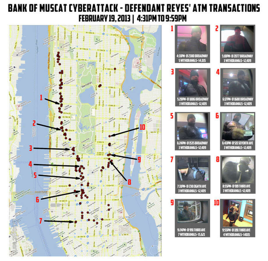 "This undated graphic released by the U.S. Attorney's Office in New York City shows ten photos of a man identified as ""defendant Reyes"" who allegedly used fraudulent magnetic cards to steal money from cash machines, next to a map of Manhattan indicating the locations of the looted machines. Federal prosecutors said on Thursday, May 9, 2013, that a gang of cyber-criminals stole $45 million in a matter of hours by hacking their way into a database of prepaid debit cards and then draining cash machines around the globe. (AP Photo/U.S. Attorney's Office) / US Attorneys Office"