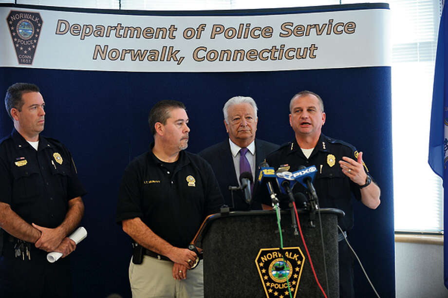 Norwalk police chief, Thomas Kuhalwik, speak on the daylight shooting that occurred in the parking lot of Super Stop & Shop on CT Ave. during a press conference Wednesday. Hour photo / Erik Trautmann / (C)2012, The Hour Newspapers, all rights reserved