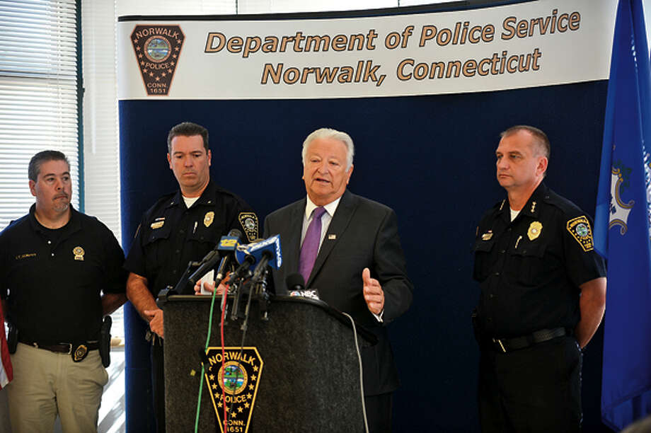 Norwalk mayor, Richard Moccia, and Norwalk police chief, Thomas Kuhalwik, speak on the daylight shooting that occurred in the parking lot of Super Stop & Shop on CT Ave. during a press conference Wednesday. Hour photo / Erik Trautmann / (C)2012, The Hour Newspapers, all rights reserved