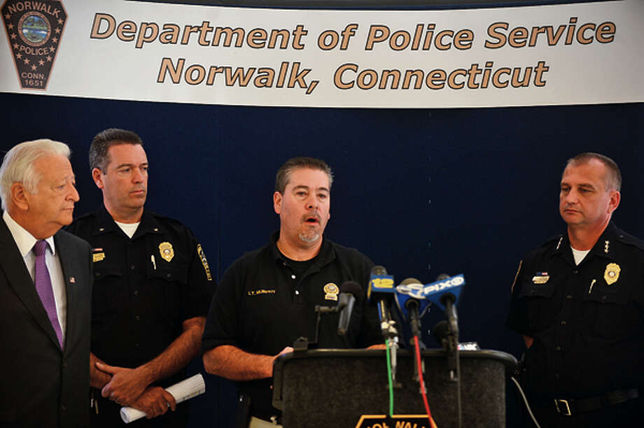 Norwalk police detective Timothy Murphy speaks on the daylight shooting that occurred in the parking lot of Super Stop & Shop on CT Ave. during a press conference Wednesday. Hour photo / Erik Trautmann / (C)2012, The Hour Newspapers, all rights reserved