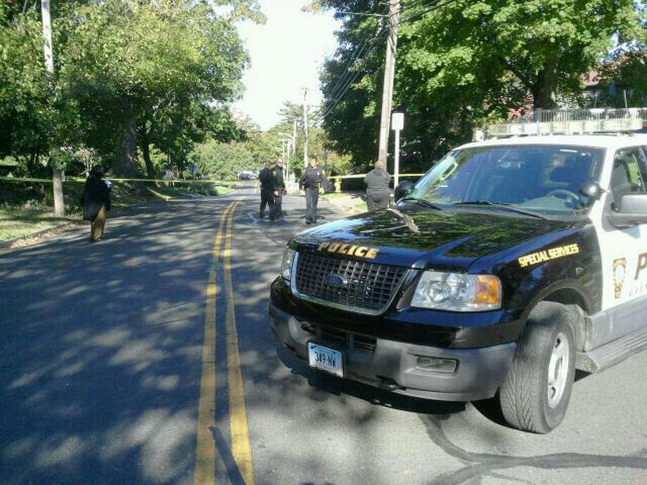 Hour photo / Alex von KleydorffA police car blocks off a street leading to Hillside Street.