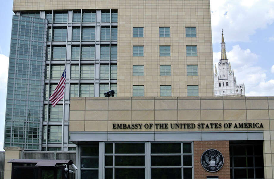 A view of the main building of the U.S. Embassy in downtown Moscow, Russia, on Tuesday, May 14, 2013. Russia's security services said Tuesday that they detained a U.S. diplomat they claim is a CIA agent after they caught him red-handed trying to recruit a Russian agent. (AP Photo/Ivan Sekretarev) / AP