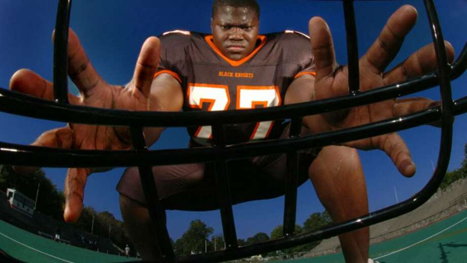 Vladimir Ducasse: Stamford high school lineman dominating despite playing only two years of football. Photo: File Photo / Stamford Advocate File Photo