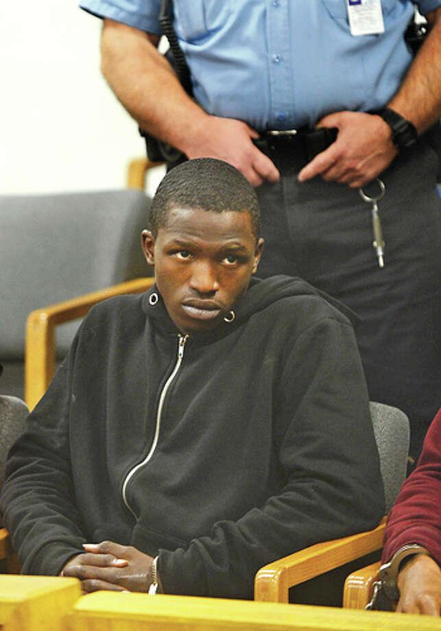 Terrick Vanlierop is arraigned at Norwalk Superior Court Friday. Hour photo / Erik Trautmann
