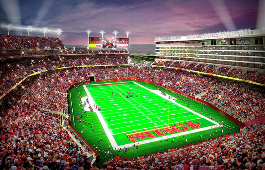 In this artist drawing provided by the San Francisco 49ers, the proposed 49ers stadium in Santa Clara, Calif. is shown. NFL owners will vote on the sites of the 50th and 51st Super Bowls on Tuesday, May 21, 2013 at their spring meetings. The San Francisco area, where the new stadium is being built in Santa Clara, and South Florida are competing for the the 50th edition, to be held in February 2016. The loser in that bidding will go against Houston to host the 51st game the following year.(AP Photo/San Francisco 49ers) NO SALES / San Francisco 49ers