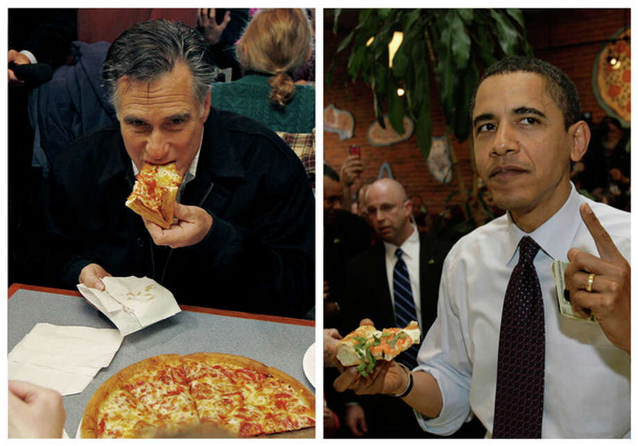 """In this combination of file photos, Republican presidential candidate former Mass. Gov. Mitt Romney, left, takes a bite of pizza during lunch with his wife Ann while campaigning at Village Pizza in Newport, N.H., Dec. 20, 2011, and then-Senator Barack Obama, right, takes a bite of pizza at American Dream Pizza in Corvallis, Ore., March 21, 2008. Pizza Hut is offering a lifetime of free pizza, one large pie a week for 30 years, or a check for $15,600 to anyone who poses the question """"Sausage or pepperoni?"""" to either President Barack Obama or Republican candidate Mitt Romney during the live Town Hall-style debate next Tuesday, Oct. 16, 2012. (AP Photo) / AP"""