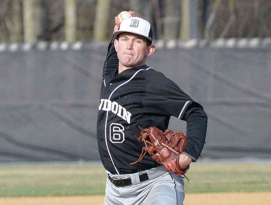 Contributed photoOliver Van Zant delivers a pitch during his recently completed season for the Bowdoin College baseball team. The Westport resident has had some feelers from major league teams and is hoping to move on to professional baseball after June's MLB entry draft.