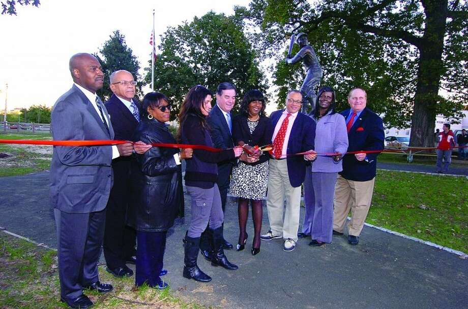 Ribbon cutting at the re dedication of Jackie Robinson Park in Stamford.