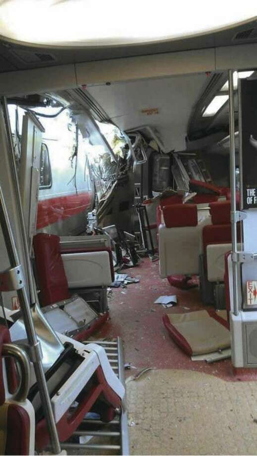 Hour ExclusiveThe interior of a Metro-North train can be seen shortly after colliding with another train Friday evening.