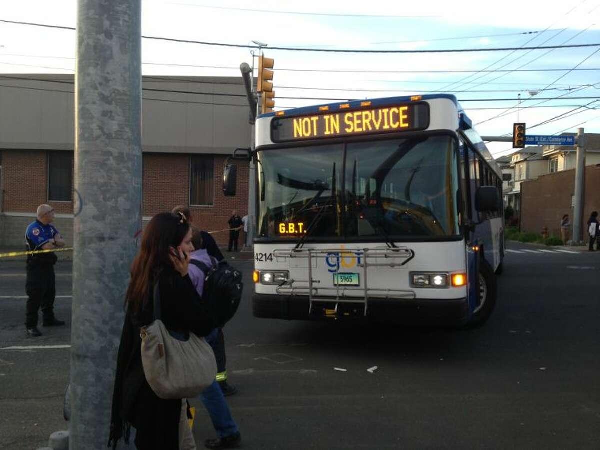 A bus sent to pick up strandedpassengersFriday.