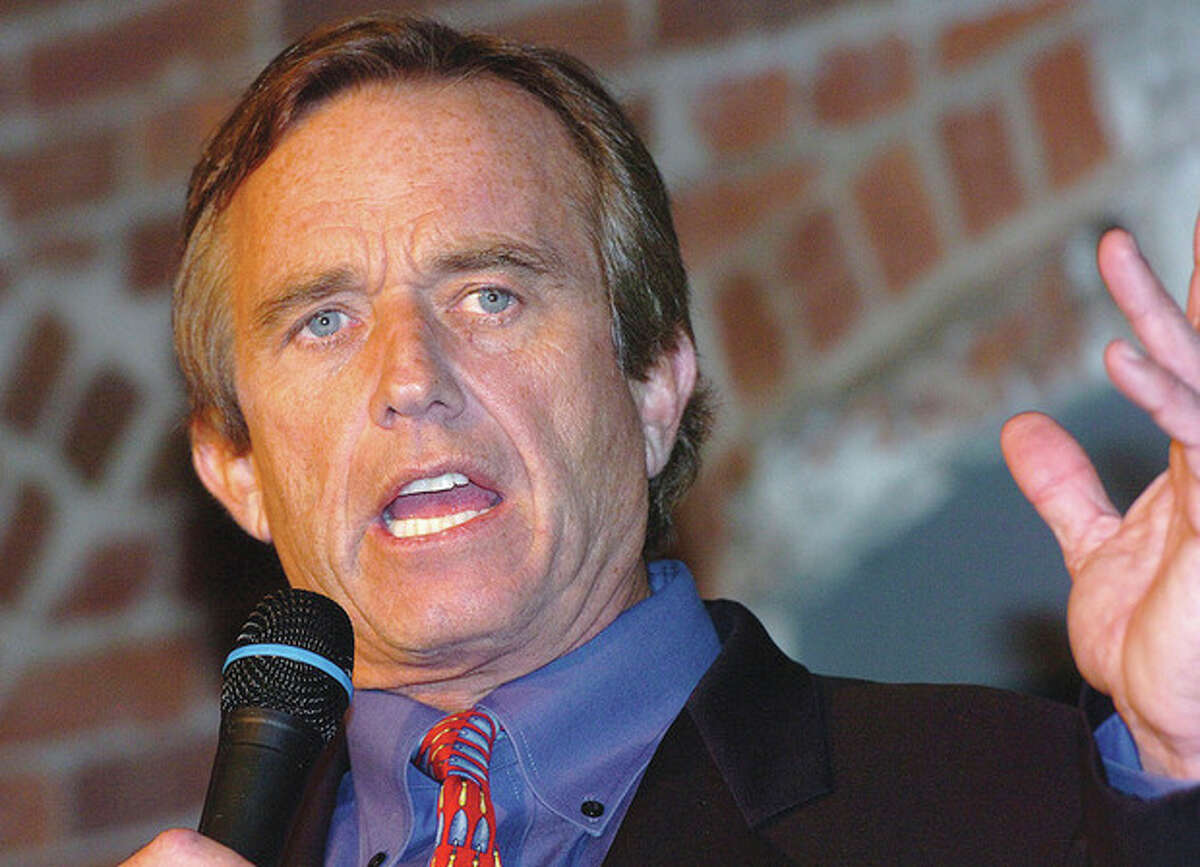 Hour photo / Alex von Kleydorff Robert F Kennedy Jr. makes a point talking about the Long Island Sound during an event at The Maritime Aquarium in Norwalk.
