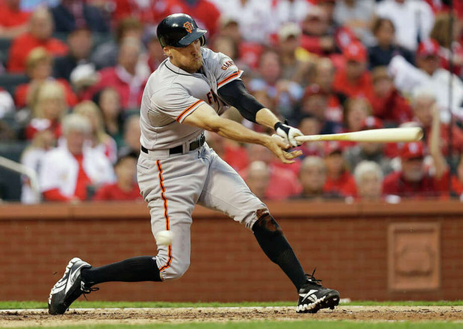 San Francisco Giants' Hunter Pence (8) strikes out during the seventh inning of Game 3 of baseball's National League championship series against the St. Louis Cardinals, Wednesday, Oct. 17, 2012, in St. Louis. (AP Photo/David J. Phillip) / AP