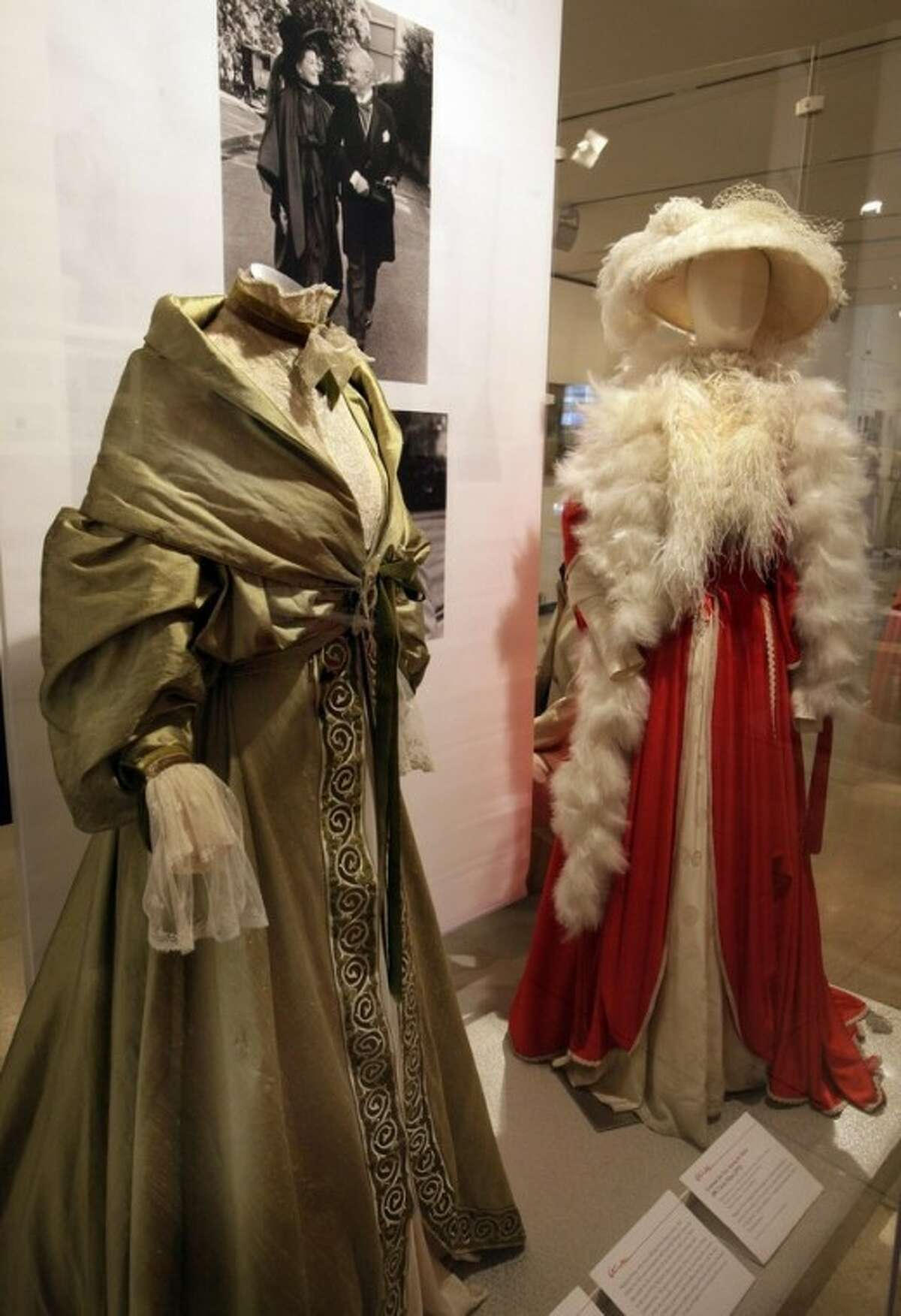 """Two designs by Margaret Furse and Germinal Rangel, from the 1975 ABC Circle Films production of """"Love Among the Ruins,"""" are shown as part of the """"Katharine Hepburn: Dressed for Stage and Screen"""" exhibit in the New York Public Library for the Performing Arts at Lincoln Center, Tuesday, Oct. 16, 2012. (AP Photo/Richard Drew)"""