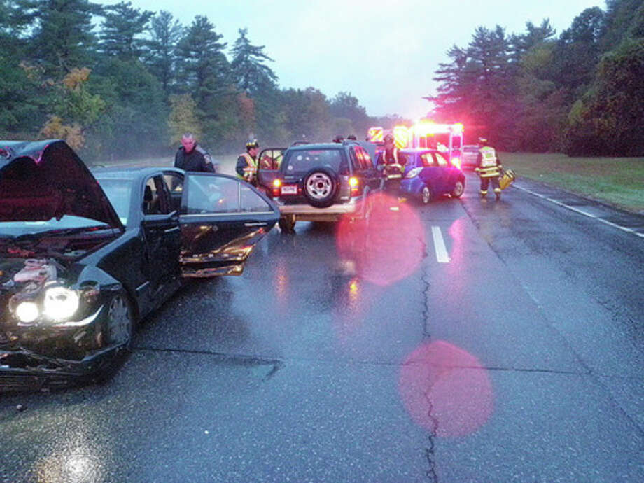 Photo by Westport Fire Department of auto accident on Merritt Parkway.