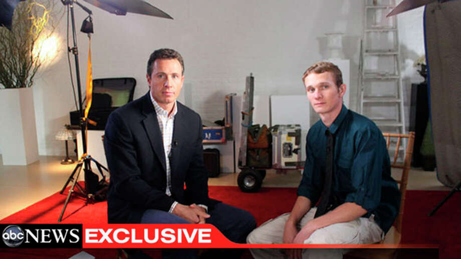 "This undated image from video shows ABC News' Chris Cuomo, left, with Aaron Fisher, 18, a victim of former Penn State assistant football coach Jerry Sandusky during an interview airing Friday, Oct. 19, 2012 on the news magazine show ""20/20,"" at 10 p.m. EST on ABC. Sandusky wants his child sexual abuse charges tossed out ""and/or"" a new trial, saying the statute of limitations had run out for many of the 45 counts for which he was convicted in June. Currently in a county jail near State College, he is awaiting transfer to the state prison system to begin serving a 30- to 60-year sentence. (AP Photo/ABC News) / ABC News"