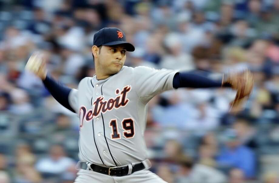 Detroit Tigers' Anibal Sanchez throws in the first inning during Game 2 of the American League championship series against the New York Yankees Sunday, Oct. 14, 2012, in New York. (AP Photo/Matt Slocum) / GETTY IMAGES