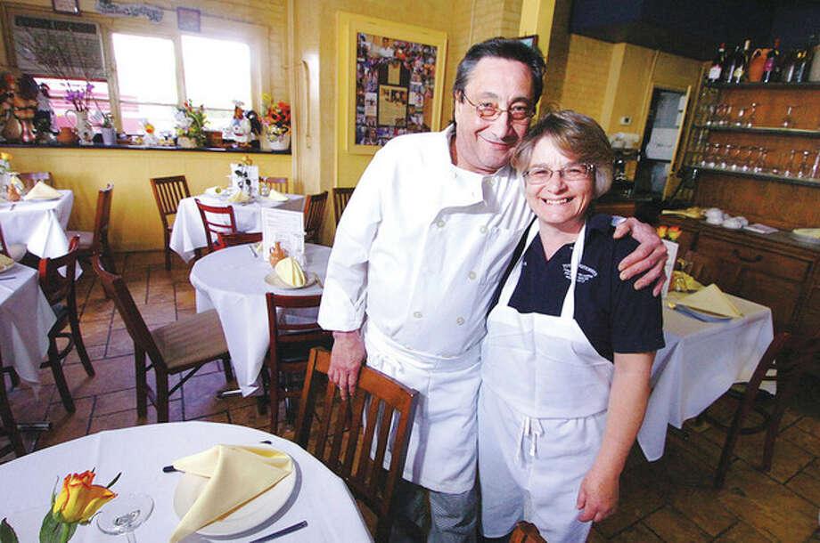 Hour Photo/Alex von Kleydorff Pasquale and Maria Funicello in their Westport restaurant Tutti's Ristorante on Riverside Ave. / 2013 The Hour Newspapers