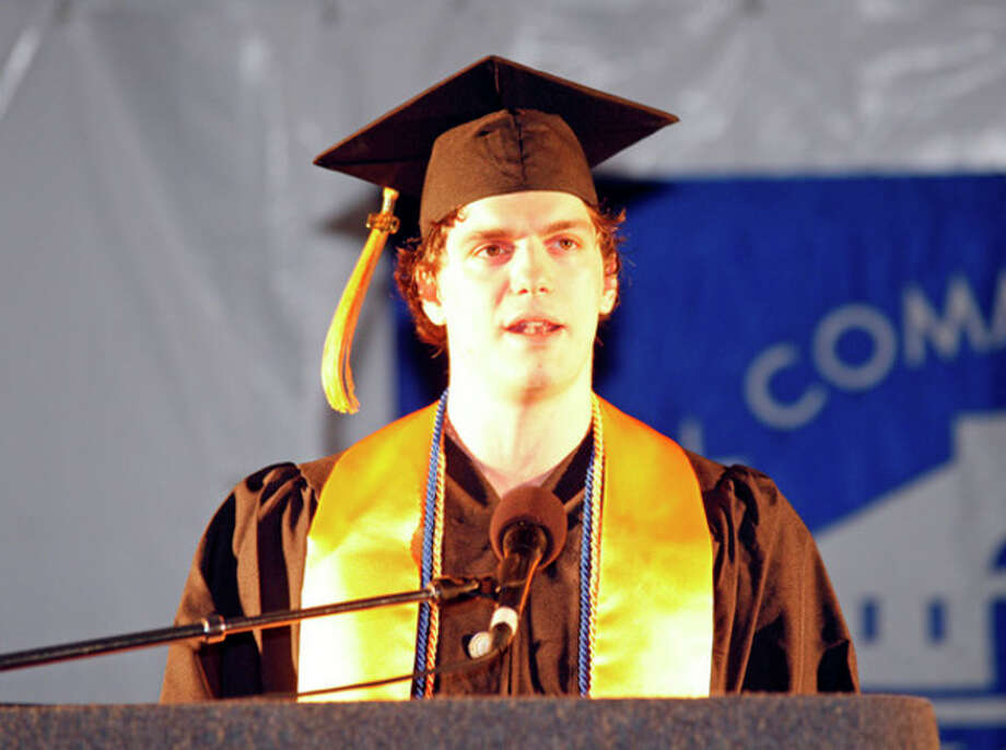 Student Ben Engel speaks during the 51st Annual Commencement Ceremony at Norwalk Community College Thursday afternoon.Hour Photo / Danielle Robinson